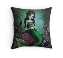 Dark Mermaid Octopus Throw Pillow