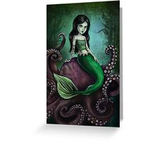 Dark Mermaid Octopus Greeting Card