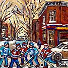 HOCKEY PAINTINGS OF POINTE ST.CHARLES MONTREAL CITY WINTER SCENES by Carole  Spandau