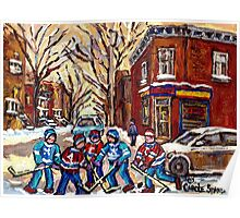 HOCKEY PAINTINGS OF POINTE ST.CHARLES MONTREAL CITY WINTER SCENES Poster