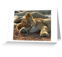 Life is good for cubs in this pride! Greeting Card