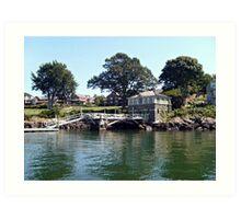 Pier and Boathouse on Narragansett Bay, Rhode Island Art Print