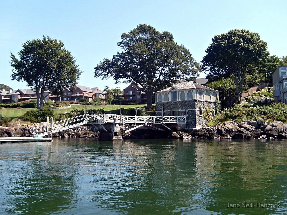 Pier and Boathouse on Narragansett Bay, Rhode Island by Jane Neill-Hancock