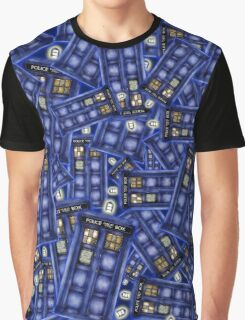 British Blue Phone box Pattern Graphic T-Shirt