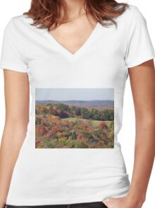 Colorful countryside Women's Fitted V-Neck T-Shirt