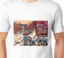 MONTREAL HOCKEY PRACTICE VERDUN WINTER STREETS CANADIAN ART Unisex T-Shirt