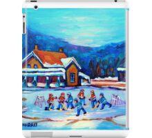 CANADIAN LANDSCAPE WITH POND HOCKEY ORIGINAL ART iPad Case/Skin