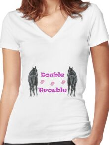 Cute Double Trouble Foals T-shirts Women's Fitted V-Neck T-Shirt