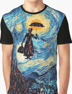 The Flying Lady with an Umbrella Oil Painting Graphic T-Shirt