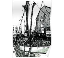 Dutch Barge St Katherines Dock Charcoal Effect Image Poster