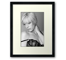 Pretty young woman wearing lacey lingerie Framed Print