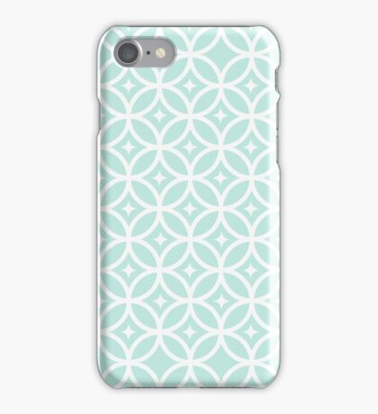 Vintage white green chic quatrefoil pattern  iPhone Case/Skin