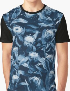Evening Proteas - Denim Blue Graphic T-Shirt