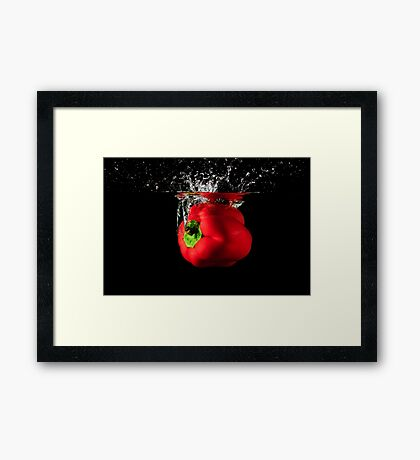 Red Pepper Splash Into Water Framed Print