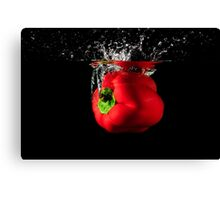 Red Pepper Splash Into Water Canvas Print