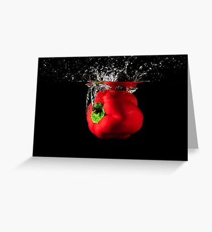 Red Pepper Splash Into Water Greeting Card