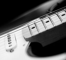 Black and White Fender Electric Guitar Wall Art by Natalie Kinnear