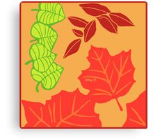 Autumn Leaves Printmaking Art Canvas Print