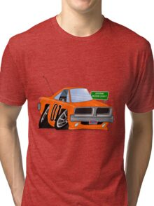 "Dodge Charger ""General Lee"" Cartoon Tri-blend T-Shirt"