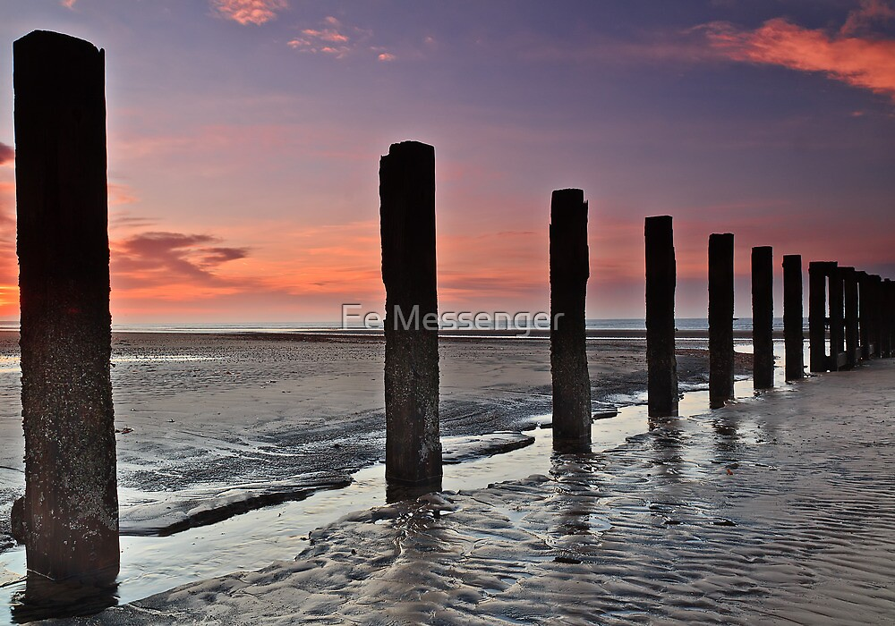 Stevenston Beach Dawn by Fe Messenger