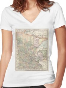 Vintage Map of Minnesota (1891) Women's Fitted V-Neck T-Shirt