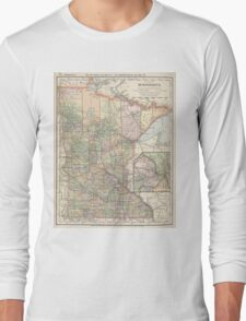 Vintage Map of Minnesota (1891) Long Sleeve T-Shirt