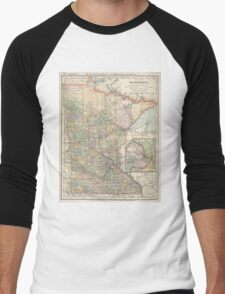 Vintage Map of Minnesota (1891) Men's Baseball ¾ T-Shirt