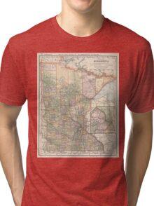 Vintage Map of Minnesota (1891) Tri-blend T-Shirt