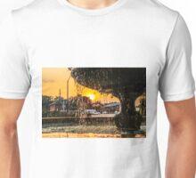 Sunset through the fountain Unisex T-Shirt