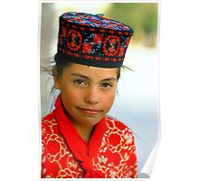 xinjing, china, little girl dressed in traditional clothing Poster
