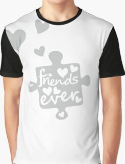 White Best Friends Forever Connection Puzzle (right) Graphic T-Shirt
