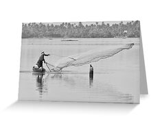Fisherman on the backwaters of Kerala, India Greeting Card