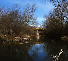 Union Pacific Bridge over the Kishwaukee River, DeKalb, IL by Gu88dek