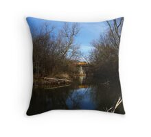 Union Pacific Bridge over the Kishwaukee River, DeKalb, IL Throw Pillow