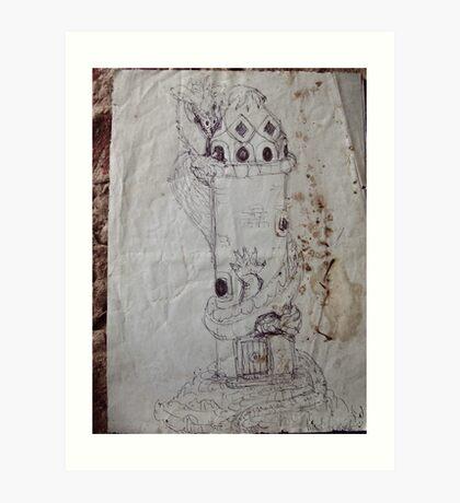 blue dragon's castle Art Print