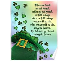 Irish blessing leprechaun hat Poster