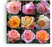 Rose Beauties Collage Canvas Print