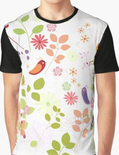 birds in flower garden t-shirt Graphic T-Shirt