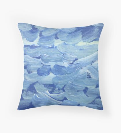 Impression White Capped Waves Throw Pillow