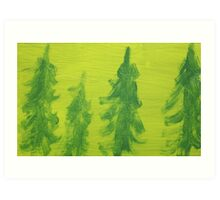 Impression Green Land Pine Trees Art Print