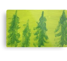 Impression Green Land Pine Trees Metal Print