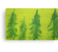 Impression Green Land Pine Trees Canvas Print