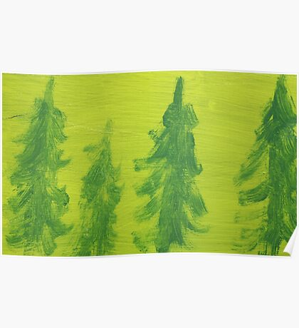 Impression Green Land Pine Trees Poster