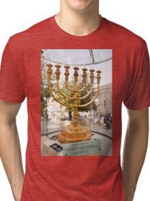 Israel, Jerusalem, Old City, Replica of the Temple Menorah Tri-blend T-Shirt