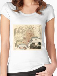 Vintage Map of Naples Italy (1835) Women's Fitted Scoop T-Shirt