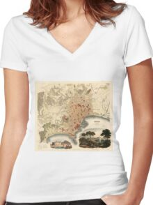 Vintage Map of Naples Italy (1835) Women's Fitted V-Neck T-Shirt