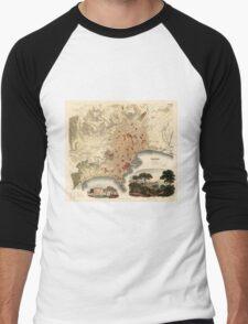 Vintage Map of Naples Italy (1835) Men's Baseball ¾ T-Shirt
