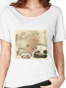 Vintage Map of Naples Italy (1835) Women's Relaxed Fit T-Shirt