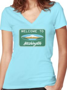 Welcome to Washington, Road Sign, USA Women's Fitted V-Neck T-Shirt