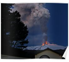 Mt. Etna on fire  Poster